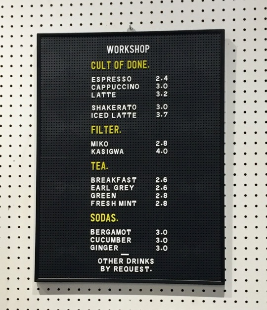 workshop menu